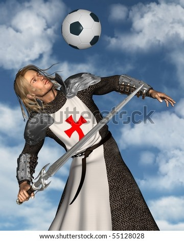3d Digitally rendered illustration of St. George, the Patron Saint of England heading a football (soccer ball) with blue sky background