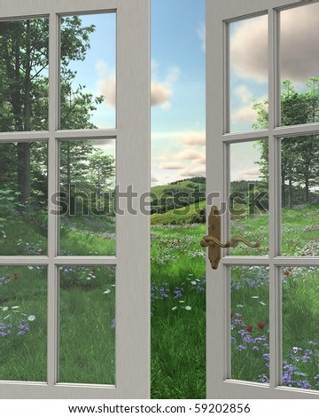 3D Digitally rendered illustration of the view of rolling hills, flowery meadows and distant woodland countryside through a white painted window