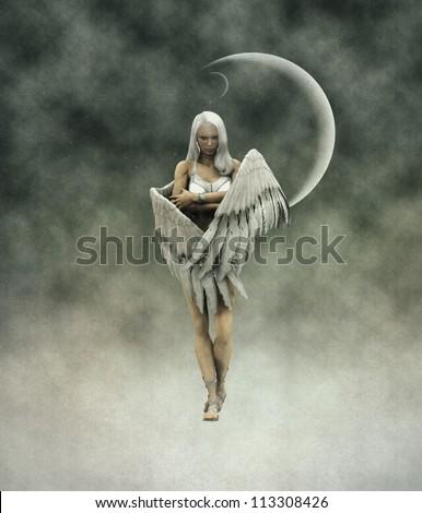 3d digitally rendered image of beautiful angel.