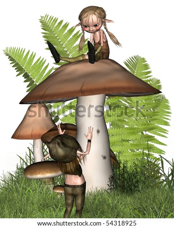 3d Digitally rendered image of two cute little goblins or imps playing on a mushroom - stock photo