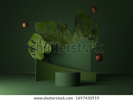 3D display podium dark green tropical nature background with monstera palm and levitating gold primitives. Cylinder shape pedestal with copy space. Abstract Mockup, template 3d render for your text.