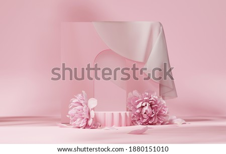 3D display podium pastel pink flower  background. Peony blossom, for woman gift. Nature minimal pedestal for beauty, cosmetic product presentation. Valentine, feminine copy space template 3d render Сток-фото ©