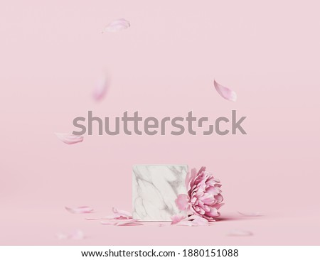 3D display podium pastel pink flower  background. Peony blossom. Nature minimal marble, stone pedestal with falling petals. Beauty, cosmetic product presentation. Valentine, template 3d render