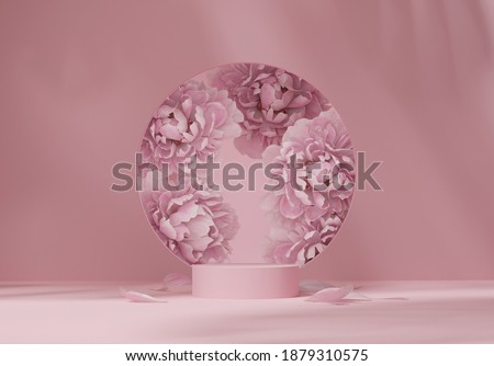 3D display podium pastel pink flower  background. Peony blossom, round copy space for woman. Nature minimal pedestal for beauty, cosmetic product presentation. Valentine, feminine template 3d render