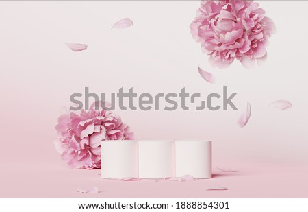 3D display podium set pastel pink flower background. Falling petals Peony blossom. Nature minimal pedestal for beauty, cosmetic product presentation. Valentine, feminine, copy space  3d render
