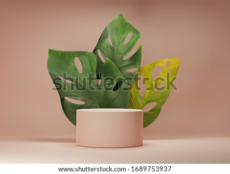 3D display podium with monstera palm leaves on pastel beige background. Minimal Jungle exotic green plant composition for product promotion. Tube stand platform for branding banner. 3D render