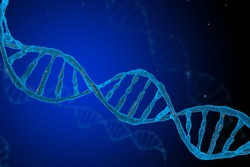 3d DNA molecules structure mesh on blue background. Science and Technology concept