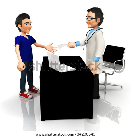 3D doctor at his office handling a prescription - isolated