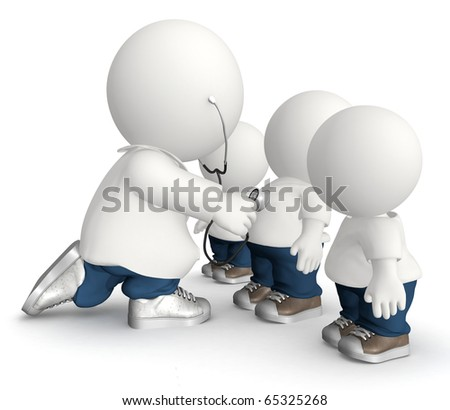 3D doctor examining young patients - isolated over a white background