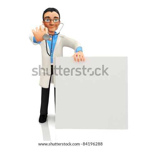 3D doctor with a banner - isolated over a white background