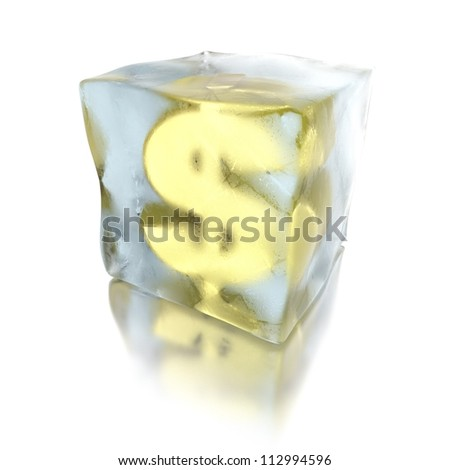 3d dollar frozen in a ice cube, isolated on white background