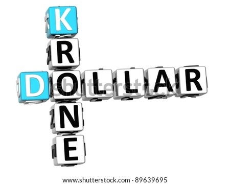 3D Dollar Krone Crossword on white background