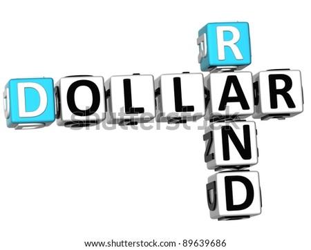 3D Dollar Rand Crossword on white background