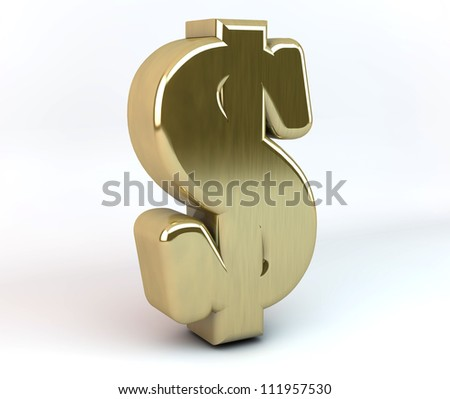 3d dollar symbol in gold and white background