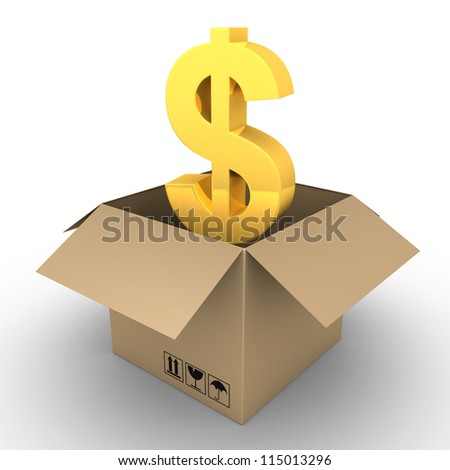 3d dollar symbol inside of an opened carton box - stock photo