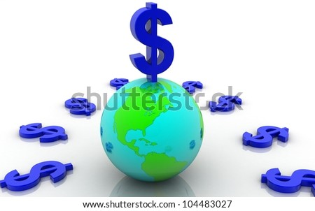 3D dollar with earth concept