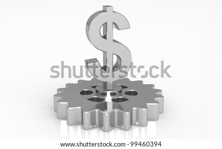 3D dollar with gear concept