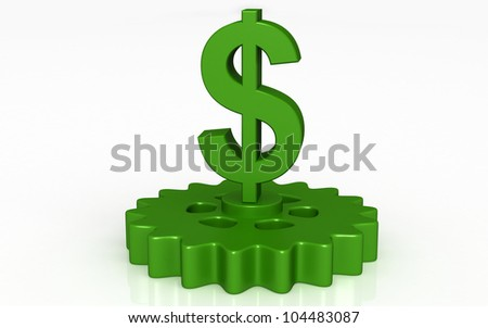 3D dollar with gears concept