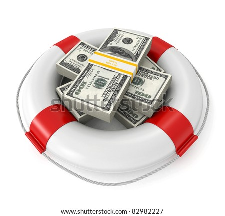 3d dollars in lifebuoy - stock photo