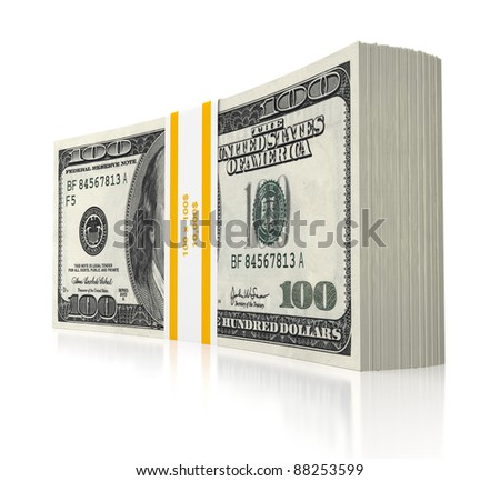 3d dollars stack