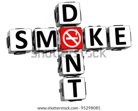 3D Dont Smoke Crossword on white background