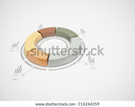 3d donut chart with numbers and symbols for business statistics and reports.