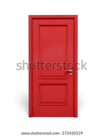 3D. Door, Red, Closed.
