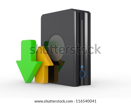 3d download icon with HDD and arrow