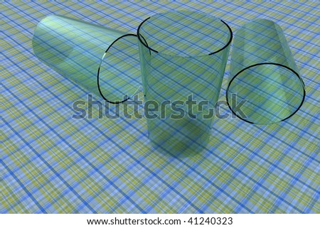 3D drinking glass on fabric
