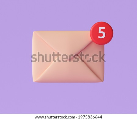 3D E-mail icon with notification, unread mail logo. 3d render illustration Сток-фото ©