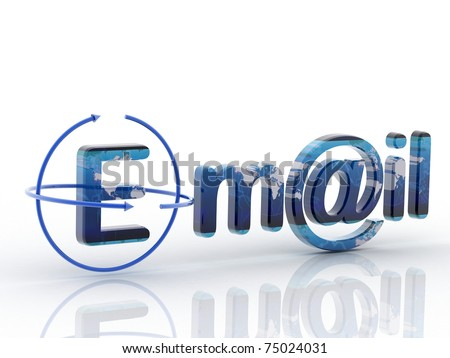 3D e mail render in white background