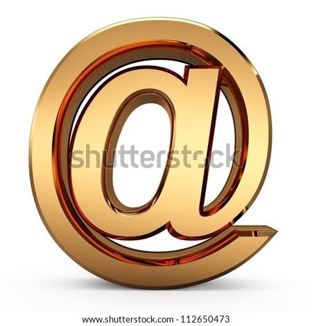 "3D e-mail sign...Golden ""at"" symbol...3D e-mail concept..."