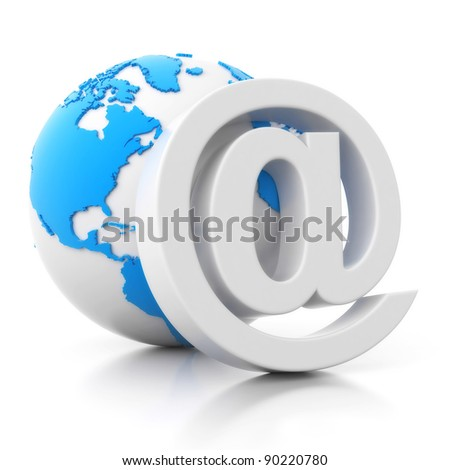 3d e-mail sign with globe icon