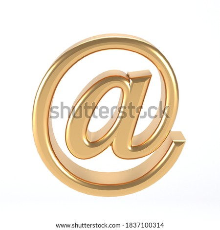 3d e-mail symbol gold - email address icon web button - at sign Concept of e-mail Golden metal - 3d illustration Сток-фото ©