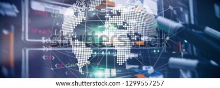 3D Earth as telecommunication and internet technology concept. #1299557257