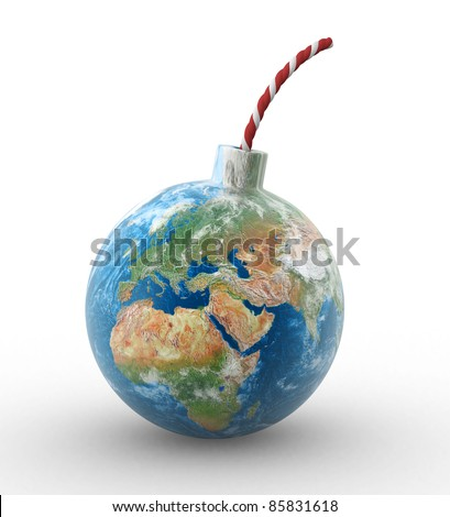 3d earth globe in shape of a bomb. 3d render illustration