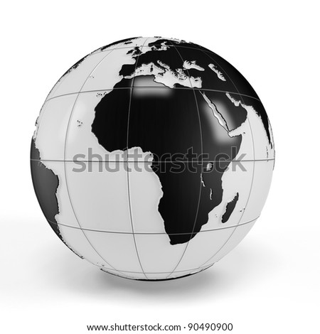 3d earth globe on white background