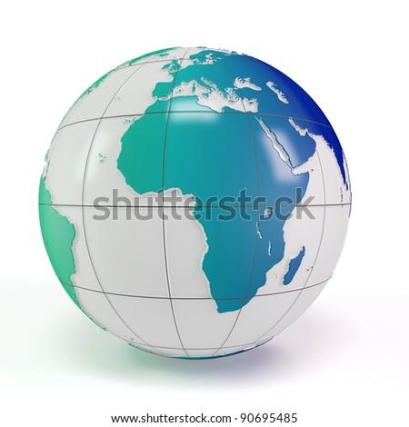 3d earth globe on white background