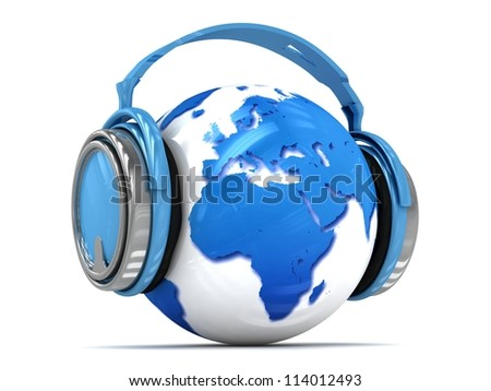3d Earth globe with headphones, world music concept. Elements of this image furnished by NASA.