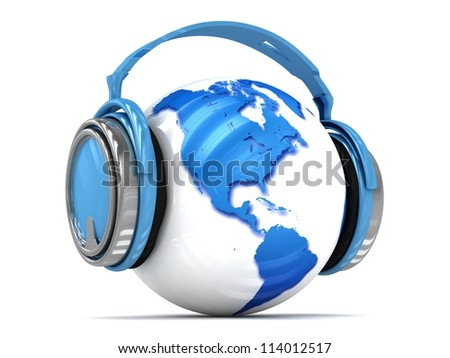 3d Earth globe with headphones, world music concept. Elements of this image furnished by NASA. - stock photo