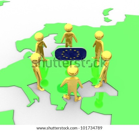 3d earth in the plane of the gold European flag with the people in isolation