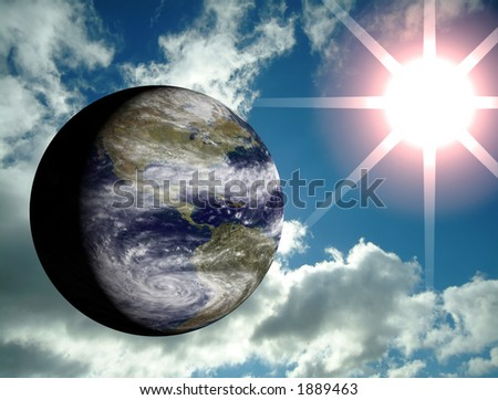 3D earth with blue sky and sun lens flare on the background