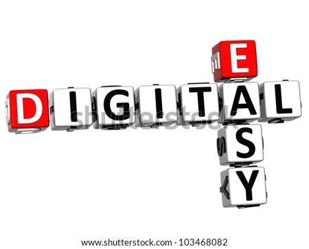 3D Easy Digital Crossword on white background