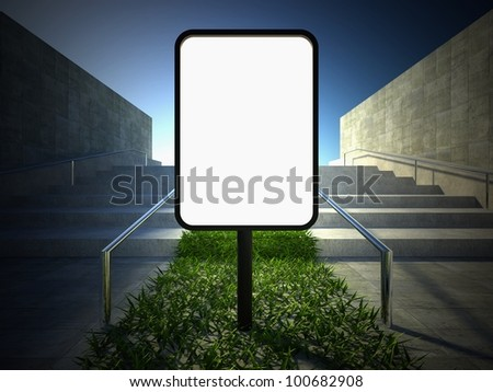 3d ecology concept, green grass on stairs and blank street advertising billboard