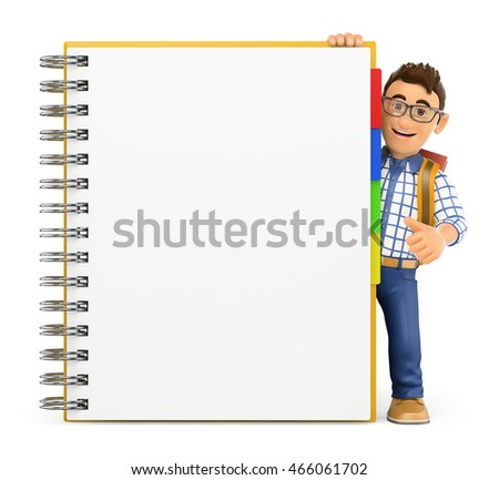 3d education people illustration. Young student with a huge blank notepad. Isolated white background.