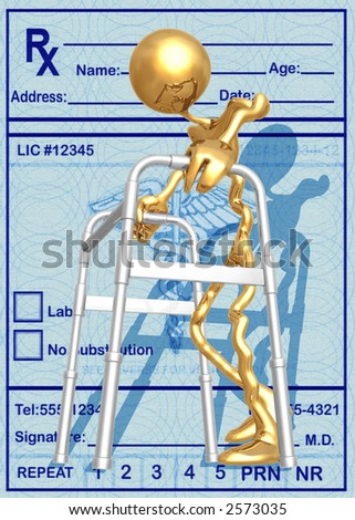 3D Elderly Assisted By Walker Concept - stock photo