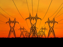 3D Electric powerlines over sunrise (see more in my portfolio)