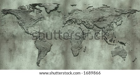 3d embossed map of the world