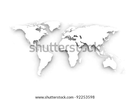 3d embossed White World Map - stock photo