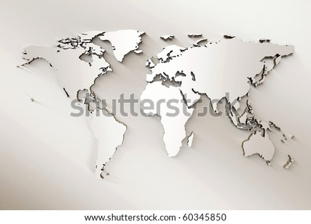 3D Embossed  World Map